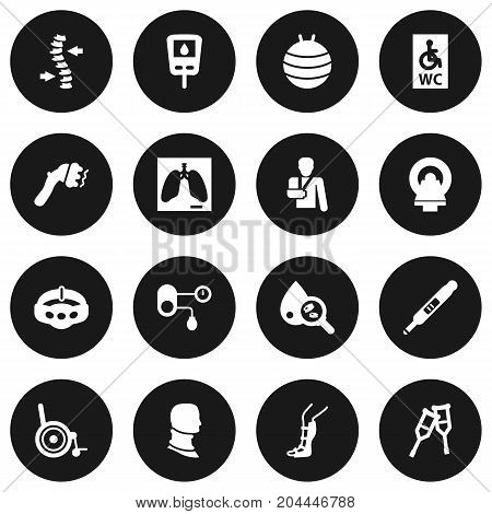 Collection Of Diabet, Hypertension, Pregnancy And Other Elements.  Set Of 16 Medicine Icons Set.