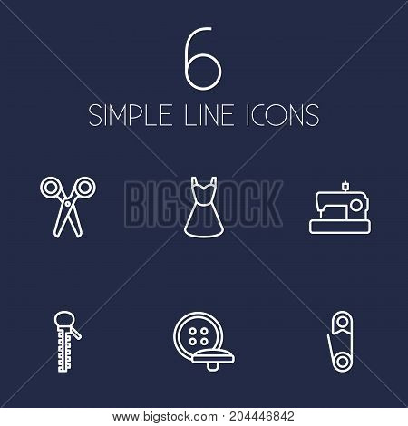 Collection Of Sewing, Dress, Safety Pin And Other Elements.  Set Of 6 Tailor Outline Icons Set.