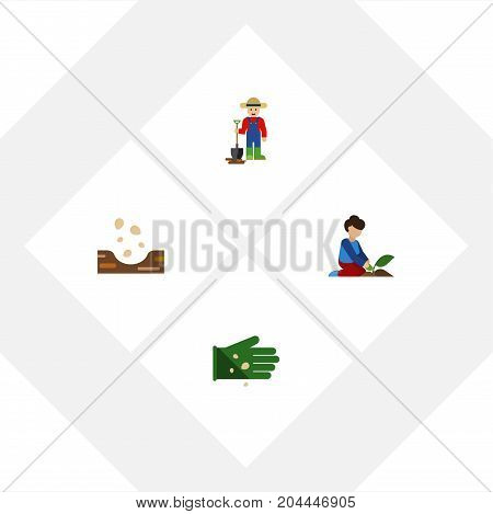 Flat Icon Seed Set Of Man, Glove, Seed And Other Vector Objects