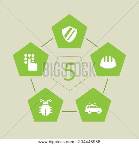 Collection Of Virus, Keypad, Protection And Other Elements.  Set Of 5 Safety Icons Set.