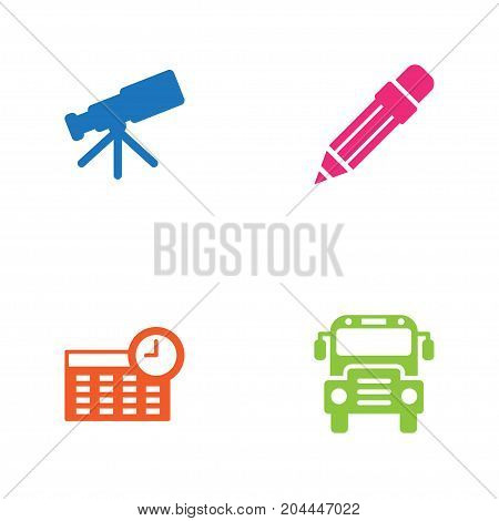 Collection Of Telescope, Autobus, Pencil And Other Elements.  Set Of 4 Knowledge Icons Set.
