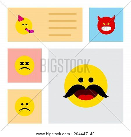 Flat Icon Expression Set Of Party Time Emoticon, Cross-Eyed Face, Sad And Other Vector Objects