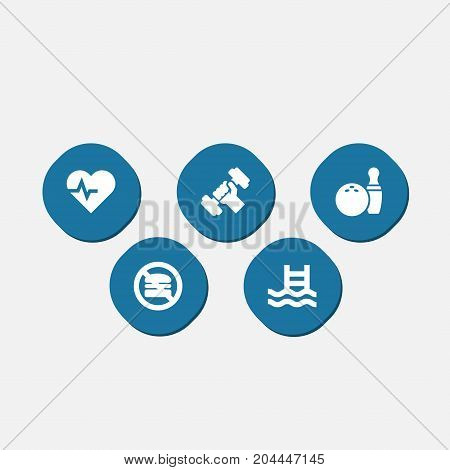 Collection Of Basin, Bodybuilding, Kegling And Other Elements.  Set Of 5 Fitness Icons Set.