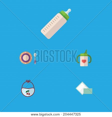 Flat Icon Infant Set Of Nursing Bottle, Napkin, Pinafore And Other Vector Objects