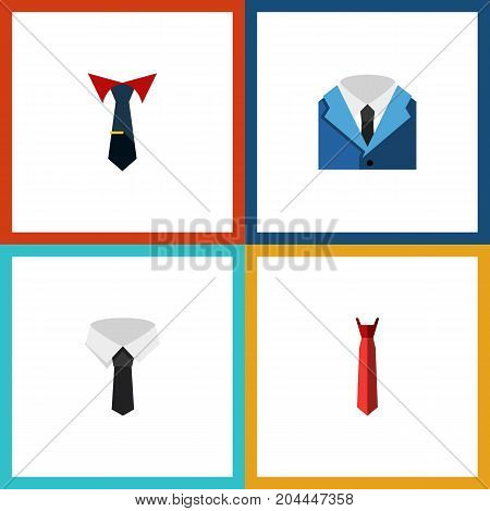 Flat Icon Clothing Set Of Textile, Tailoring, Suit And Other Vector Objects