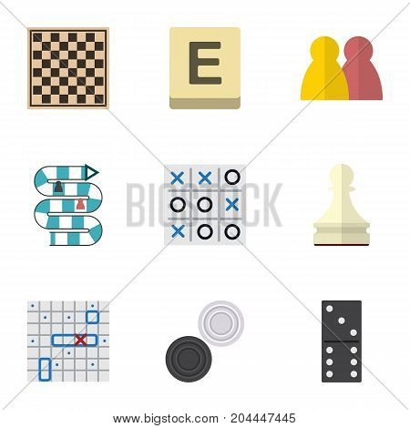 Flat Icon Play Set Of X-O, Bones Game, Pawn And Other Vector Objects