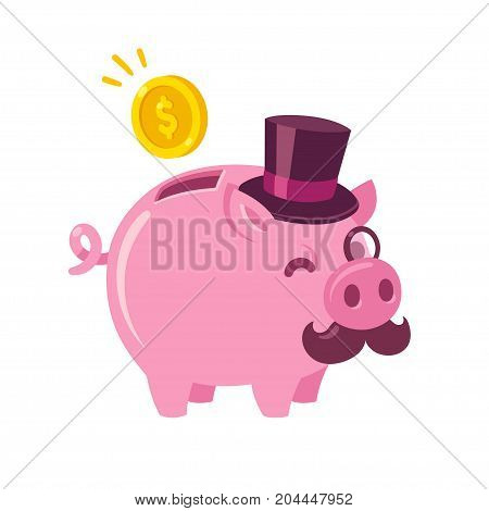 Funny cartoon piggy bank drawing. Cute pig with capitalist attributes: top hat mustache and monocle. Money and finance vector illustration.