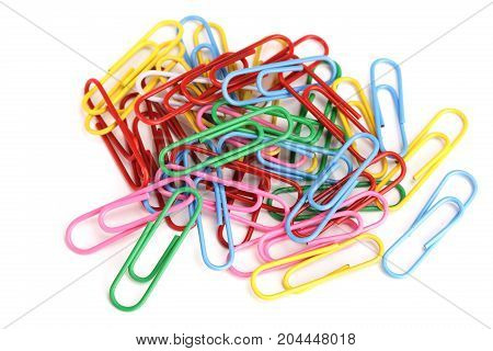 Bunch of colorful paper clips isolated on white background.
