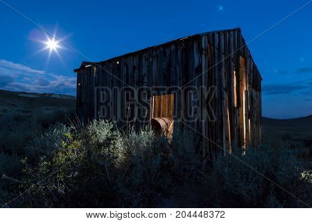 Old Mining Shack Long Exposure Under The Moonlight