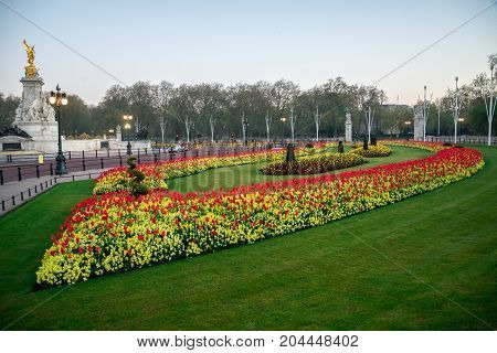 Flower-beds And Queen Victoria Memorial Near Buckingham Palace In London