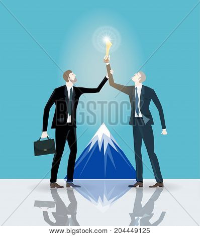 Two successful businessman holding up the golden trophy in front of the mountain. Winning, leading and success theme illustration. Business concept collection.