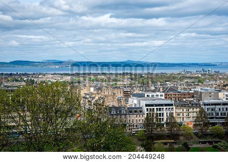 A view of northern part of Edinburgh city and river Forth from castle wall Scotland