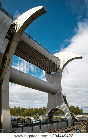 A Close View Of Falkirk Wheel Boat Lift