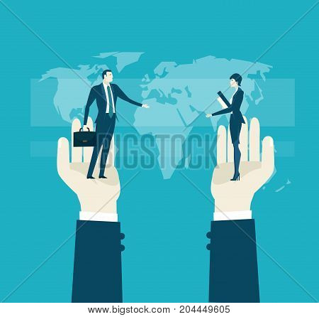 Human hand holding the businessmen and businesswoman in front of the map. Representation of successes, control, support and coordination. Concept illustration