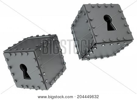 Metal keyhole boxes pair 3d illustration horizontal isolated over white
