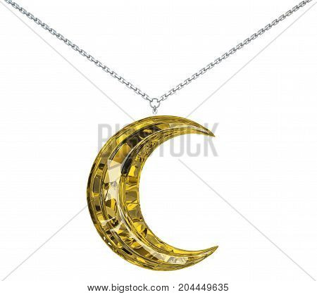 Yellow moon crescent gem jewelry chain isolated 3d illustration horizontal