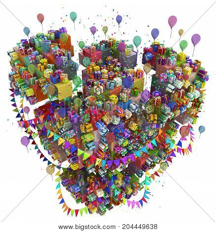 Gift large group cube fragment party 3d illustration colorful vertical isolated over white