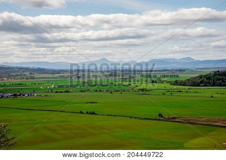 Scotland landscape view from Stirling Castle top hill Great Britain