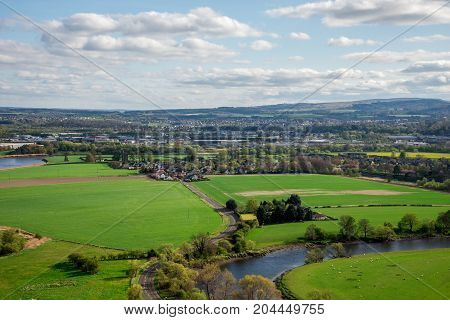 River Forth countryside view from Abbey Craig hilltop near Stirling city central Scotland