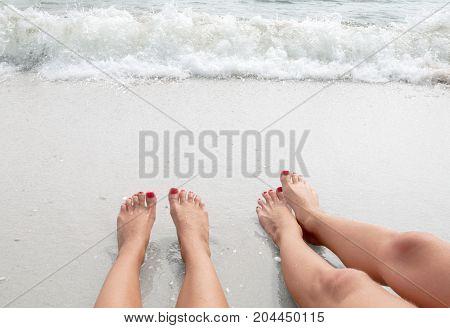 Vacation On The Beach, Feet On Seashore