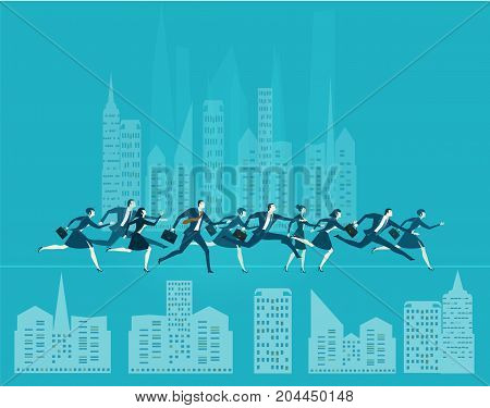 A lot of business young people running in the abstract city. Busy modern business life, achievement, success and and competition concept.