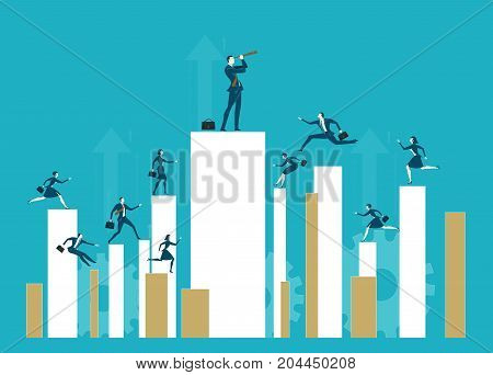A lot of business young people running and jumping on growth diagram bars. Leader on top of the chart looking with the telescope. Busy modern business life, achievement and competition concept.