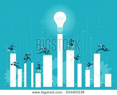 A lot of business young people running and jumping on growth diagram bars. Busy modern business life, achievement and competition concept.