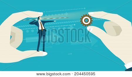 Businessmen holding a target and man  trying to shoot the target. Business concept illustration