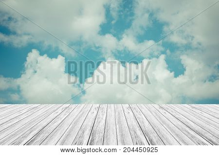 Blue Sky Cloud With Wood Terrace , Process In Vintage Style