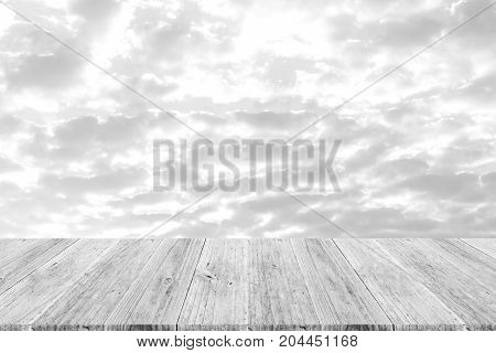 Sky Cloud With Wood Terrace , Process In White Style