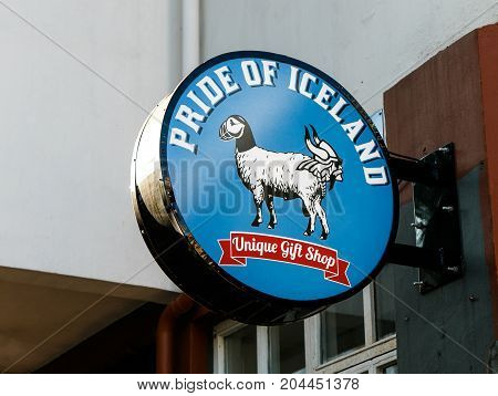 Reykjavik Iceland August 22 2017: Pride of Iceland sign is attached to the wall above the entrance to the gift shop.