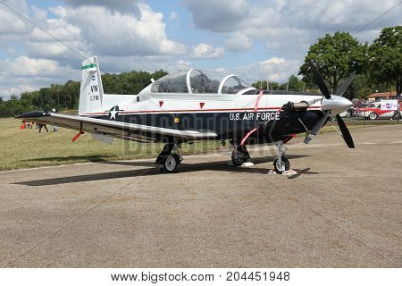 AKRON OHIO USA - SEPT 9:A USAF Beechcraft T-6 Texan II at Props and Pistons Airshow taking place at the Akron Fulton International Airport