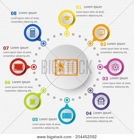 Infographic template with education icons, stock vector