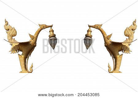 Symmetry pattern orientation of Golden art mystery bird, Lantern hanger designed swan statue isolated in white background, Traditional ancient unique style lighting lamp of Thailand, Home decoration mythology style