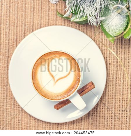 Cup Of Coffee Or Chai Tea With Latte Art And Christmas Decor. Leasure Time Concept. Pastel Colors