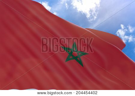 3D Rendering Of Morocco Flag Waving On Blue Sky Background