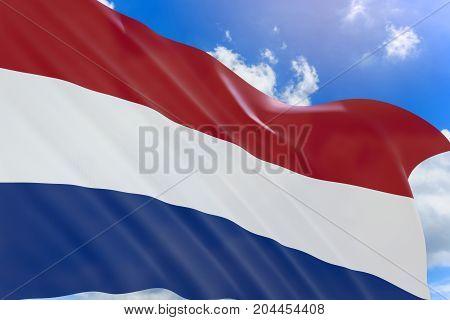 3D Rendering Of Netherlands Flag Waving On Blue Sky Background