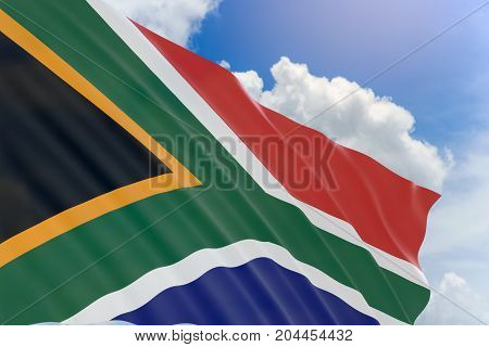 3D Rendering Of South Africa Flag Waving On Blue Sky Background