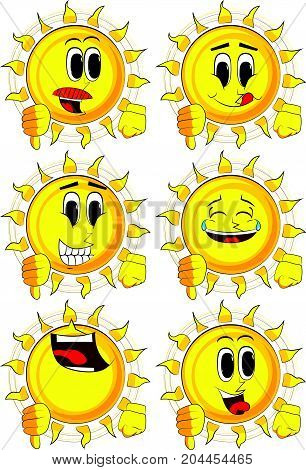 Cartoon sun showing dislike hand sign. Collection with happy faces. Expressions vector set.
