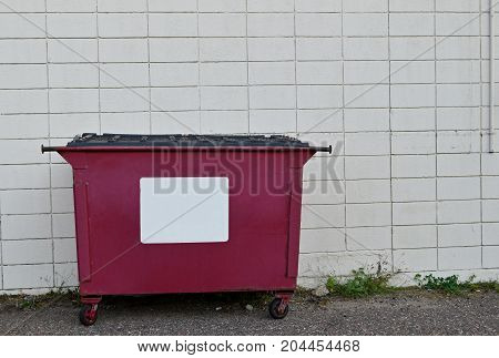 Red Recycling Dumpster