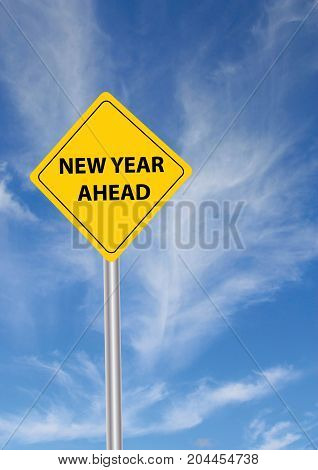 a sign with New Year in the foreground and sky in the background