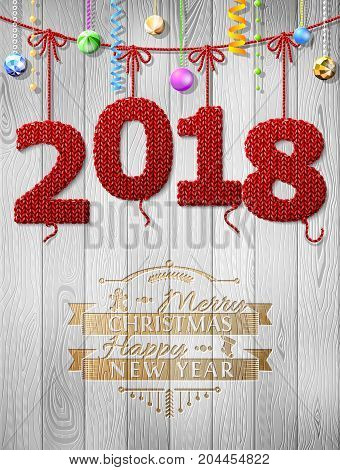 New Year 2018 knitted fabric as christmas decoration. Christmas congratulation against wood background. Vector illustration