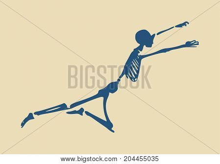 Human skeleton flying. Vector illustration. Halloween party design template