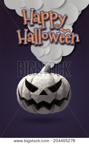 Happy halloween greeting card with Jack o lantern pumpkin in rock material on dark purple background