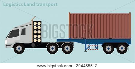 Vector Car : Container Truck for Logistics Land Transport Shipment.