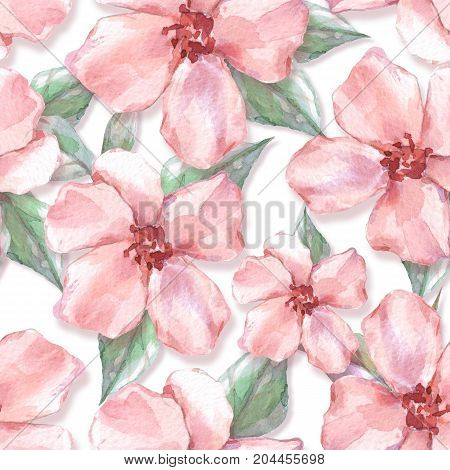 Floral seamless pattern 10. Watercolor background with delicate flowers