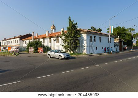 POMORIE BULGARIA - AUGUST 18 2017: Orthodox monastery of St. George. View from from the street of Knyaz (Tsar) Boris I.