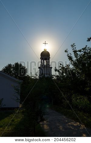 Orthodox monastery of St. George. The bell tower above the Sacred source of water. Pomorie. Bulgaria.