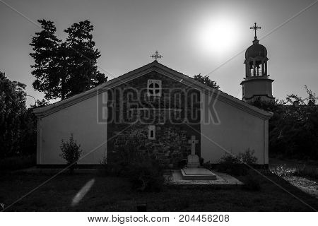 Territory of the Orthodox Monastery of St. George in Pomorie. Bulgaria. Black and white.
