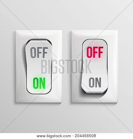 Toggle Switch Vector. Plastic Switches With On, Off Position. Button Illustration.
